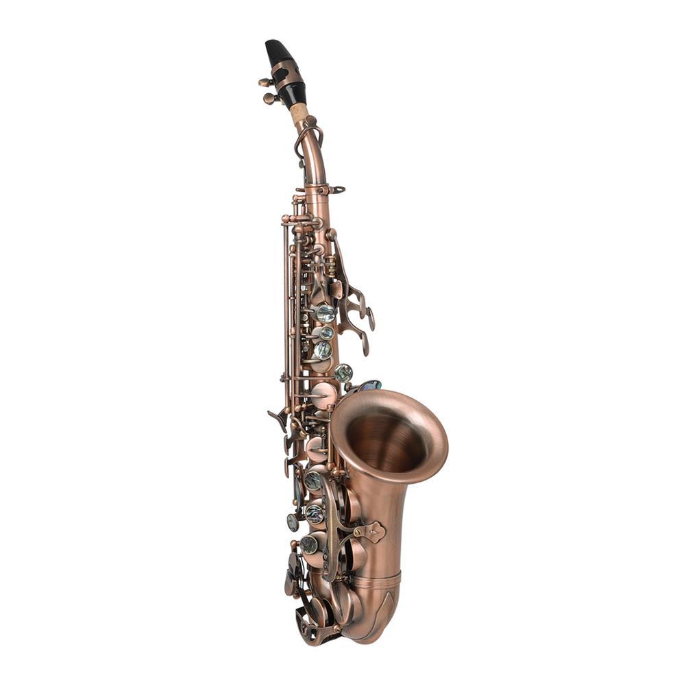 saxophone Slade Red Bronze Bend Bb B-flat Soprano Saxophone Sax Abalone Shell Key Carve Pattern with Case Gloves HOB1719465 1