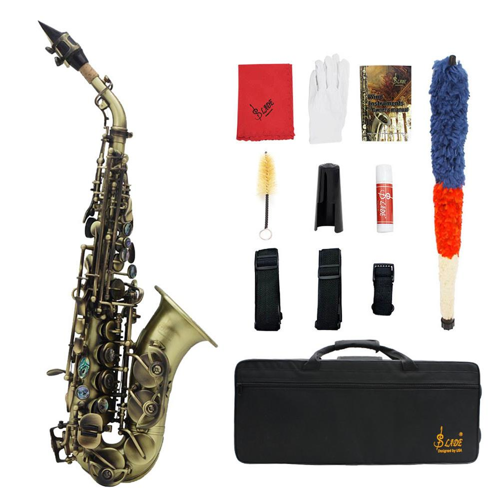 saxophone Slade Vintage Style Bb Soprano Saxophone with Carry Case Gloves Cleaning Cloth Brush Sax Strap Mouthpiece Brush Accessories HOB1719466