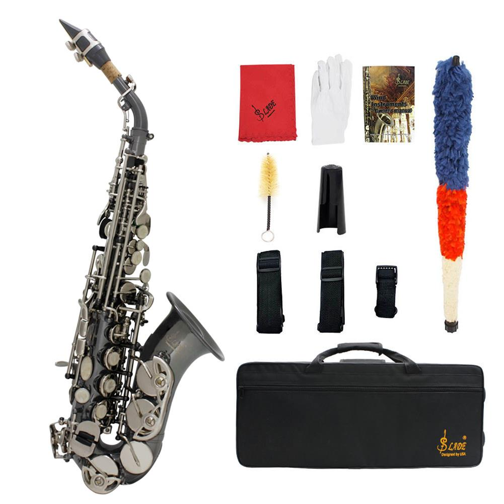 saxophone Slade Bb Soprano Saxophone Sax Brass Material Woodwind instrument with Case Gloves Cleaning Cloth Brush Sax Strap Mouthpiece Brush HOB1719467