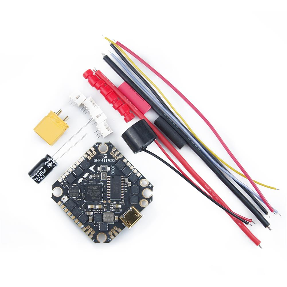 multi-rotor-parts 25.5x25.5mm GEELANG F411 F4 Flight Controller AIO OSD BEC Built-in 20A BLheli_S 4in1 Brushless ESC 2-4S Spport DJI Air Unit Caddx Vista for TITAN 120X FPV Racing Drone HOB1719823 3