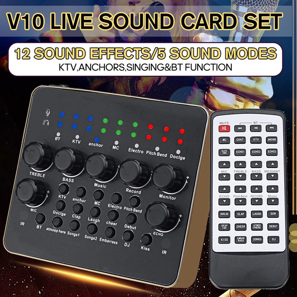 dj-mixers-equipment External Sound Card, Multi-functional V10 Sound Effects Digital Audio Mixer USB Headset Microphone Mobile Computer Live Sound Card, Ideal for Live Recording, Home KTV, Voice Chat, etc HOB1720902