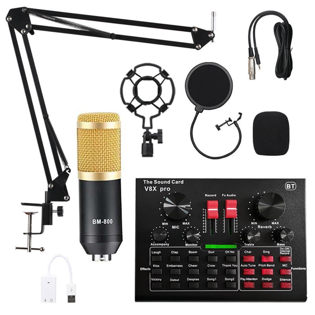 microphones-karaoke-equipment BM800 Condenser Microphone Kit Pro Audio Studio Sound Recording Microphone with V8X PRO Muti-functional Bluetooth Sound Card HOB1721097