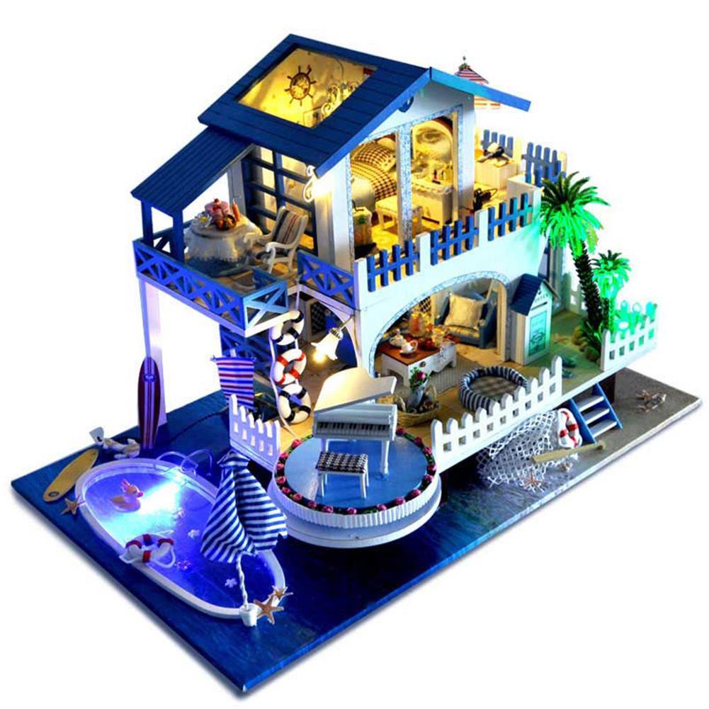music-box DIY Handcraft 3D Wooden Toy Miniature Kit Dollhouse LED Lights Music House Gift HOB1721170