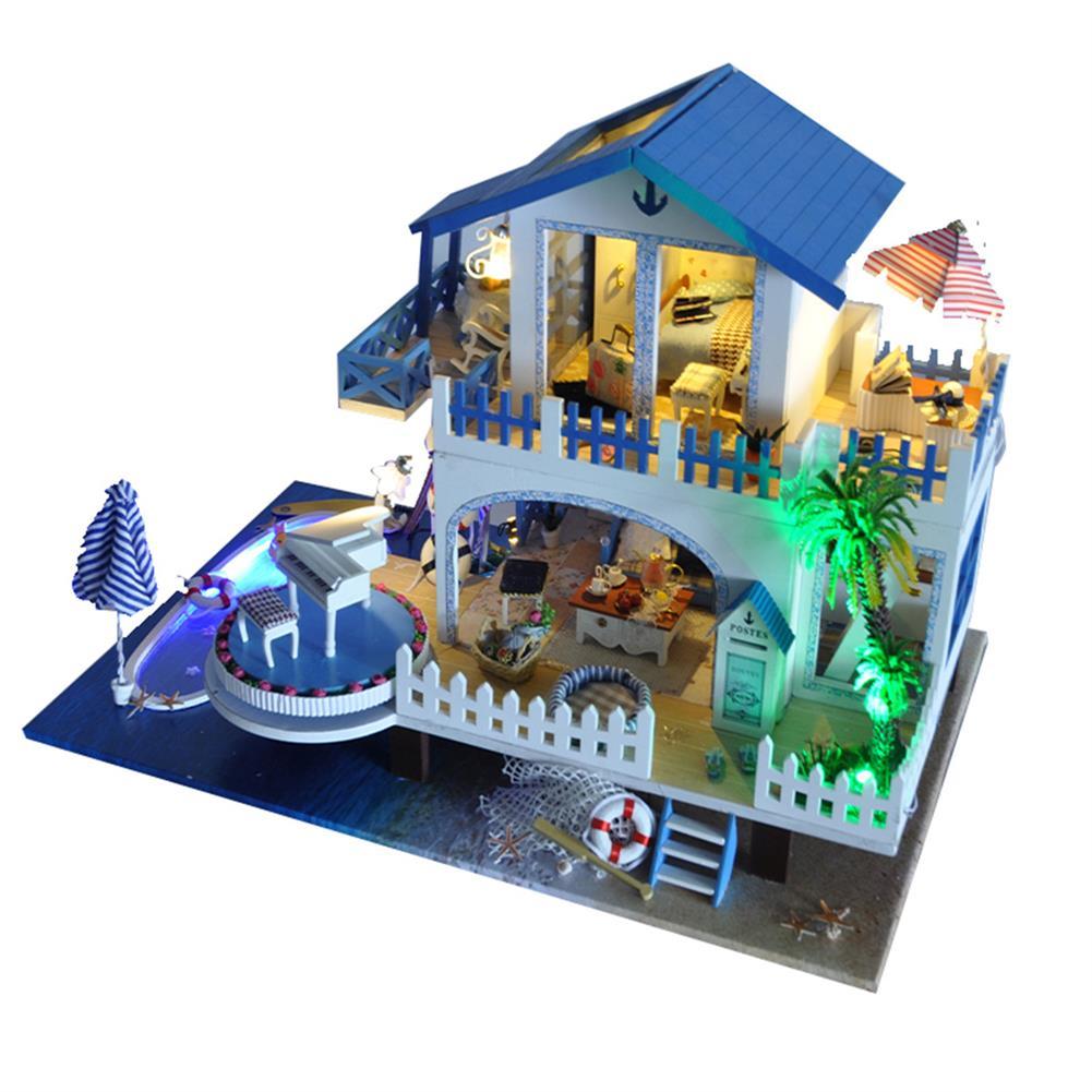 music-box DIY Handcraft 3D Wooden Toy Miniature Kit Dollhouse LED Lights Music House Gift HOB1721170 1