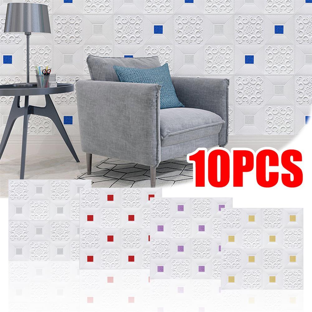 general-accessories 10PCS 3D Stereo Wall Self-Adhesive Ceiling Decorative Bricks HOB1721260