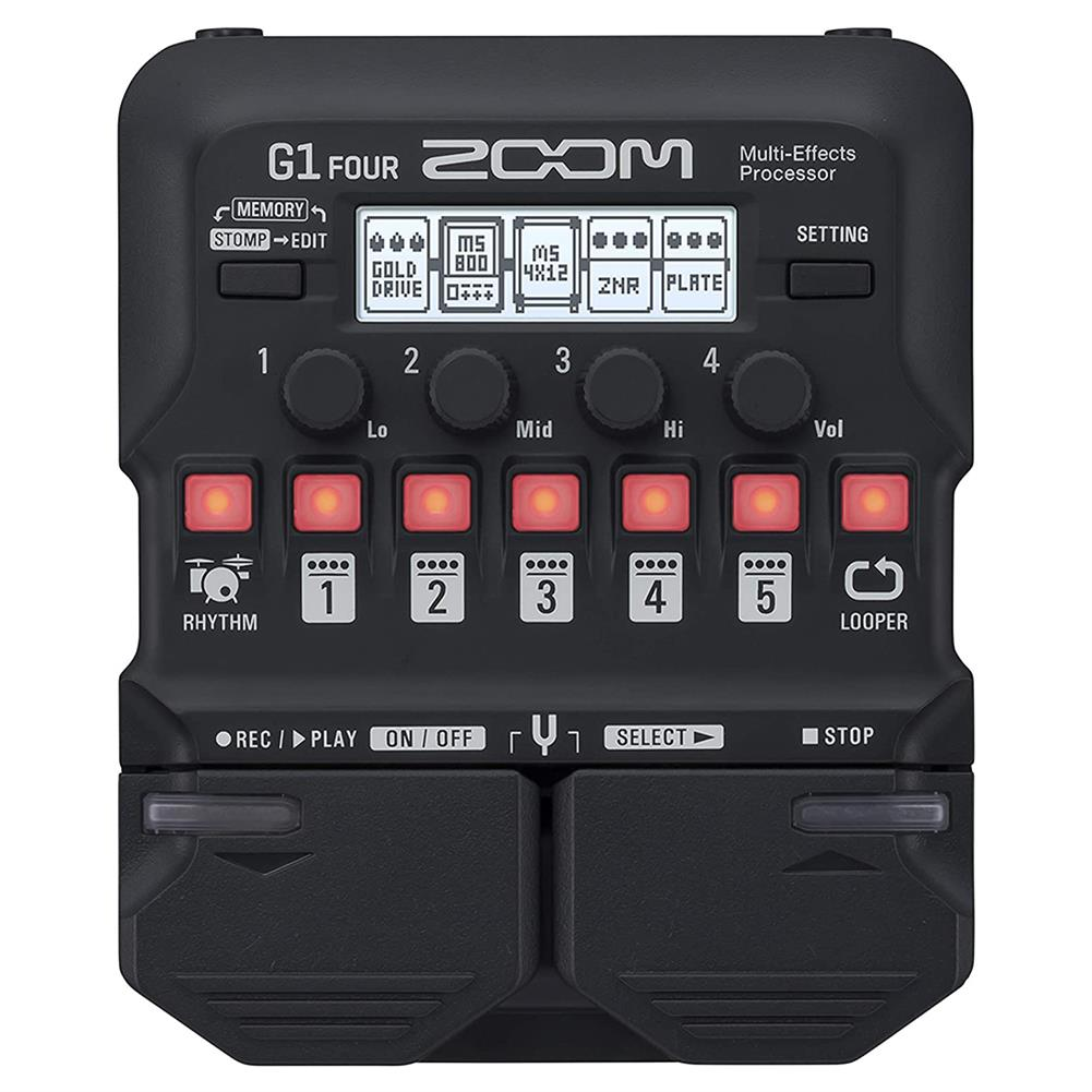 guitar-accessories Zoom G1 FOUR/G1X FOUR Guitar Multi-Effects Processor Pedal, with Built-in effects, Amp Modeling, Looper, Rhythm Section, Tuner, Battery Powered HOB1722674