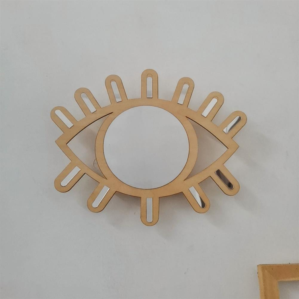 decoration Self Adhesive Wooden Eye Acrylic Mirror - Wall Decoration for Classroom Camping Baby Kids Playroom HOB1723020 1