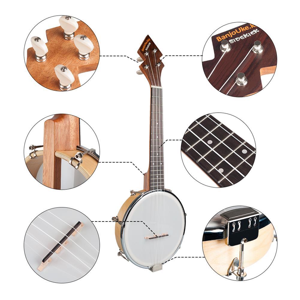 banjo NAOMI Banjolele BanjoUke SideKicks 10or Banjolele W/Gig Bag + Tuner +Strap BANJOUKE Ukulele Banjo Family instrument HOB1724742 1