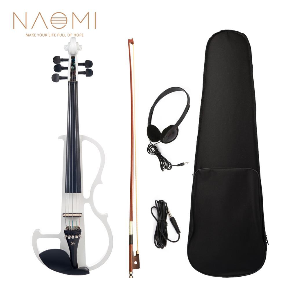 violin NAOMI 4/4 Full Size Electric Violin Fiddle 5 String Silent Violin Accessories HOB1726674