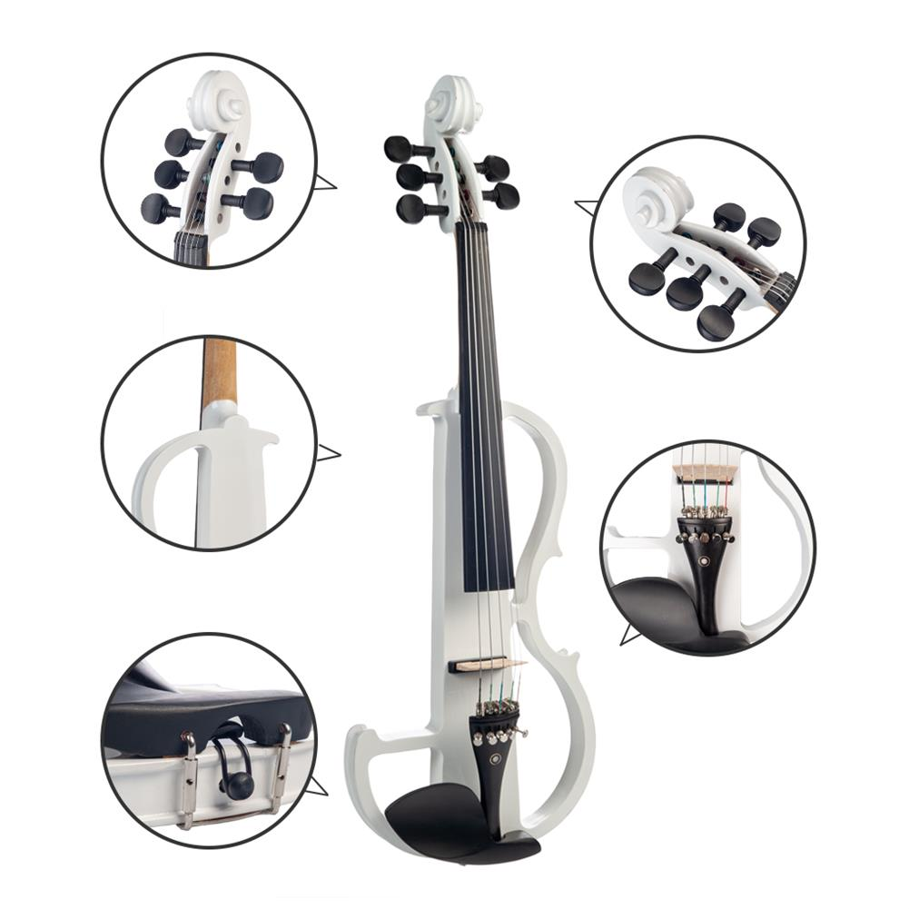 violin NAOMI 4/4 Full Size Electric Violin Fiddle 5 String Silent Violin Accessories HOB1726674 1