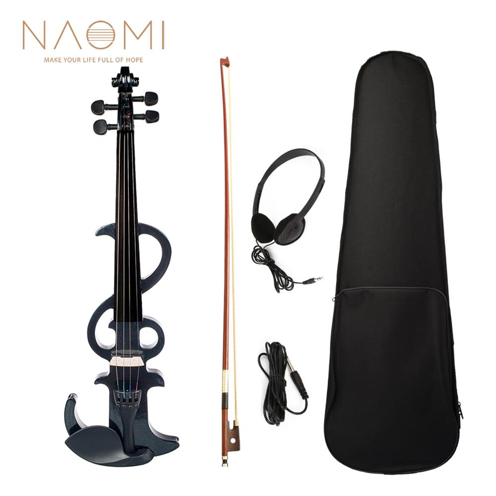 violin NAOMI Electric Violin 4/4 Electric Silent Violin Full Size Violin Ebony Fretboard +Case-Black HOB1726683