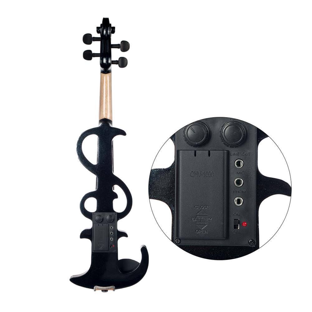 violin NAOMI Electric Violin 4/4 Electric Silent Violin Full Size Violin Ebony Fretboard +Case-Black HOB1726683 1