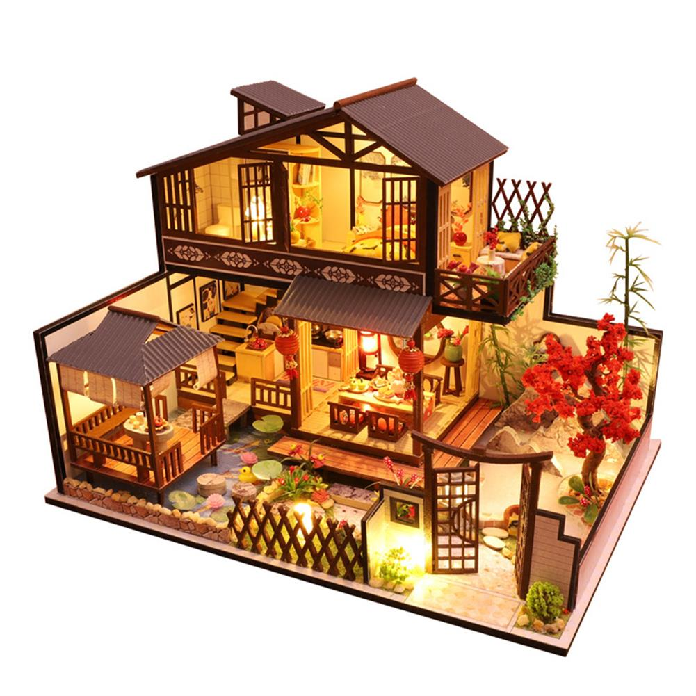 doll-house-miniature Wooden DIY Courtyard Doll House Miniature Kit Handmade Assemble Toy with LED Light Dust-proof Cover for Gift Collection HOB1726971