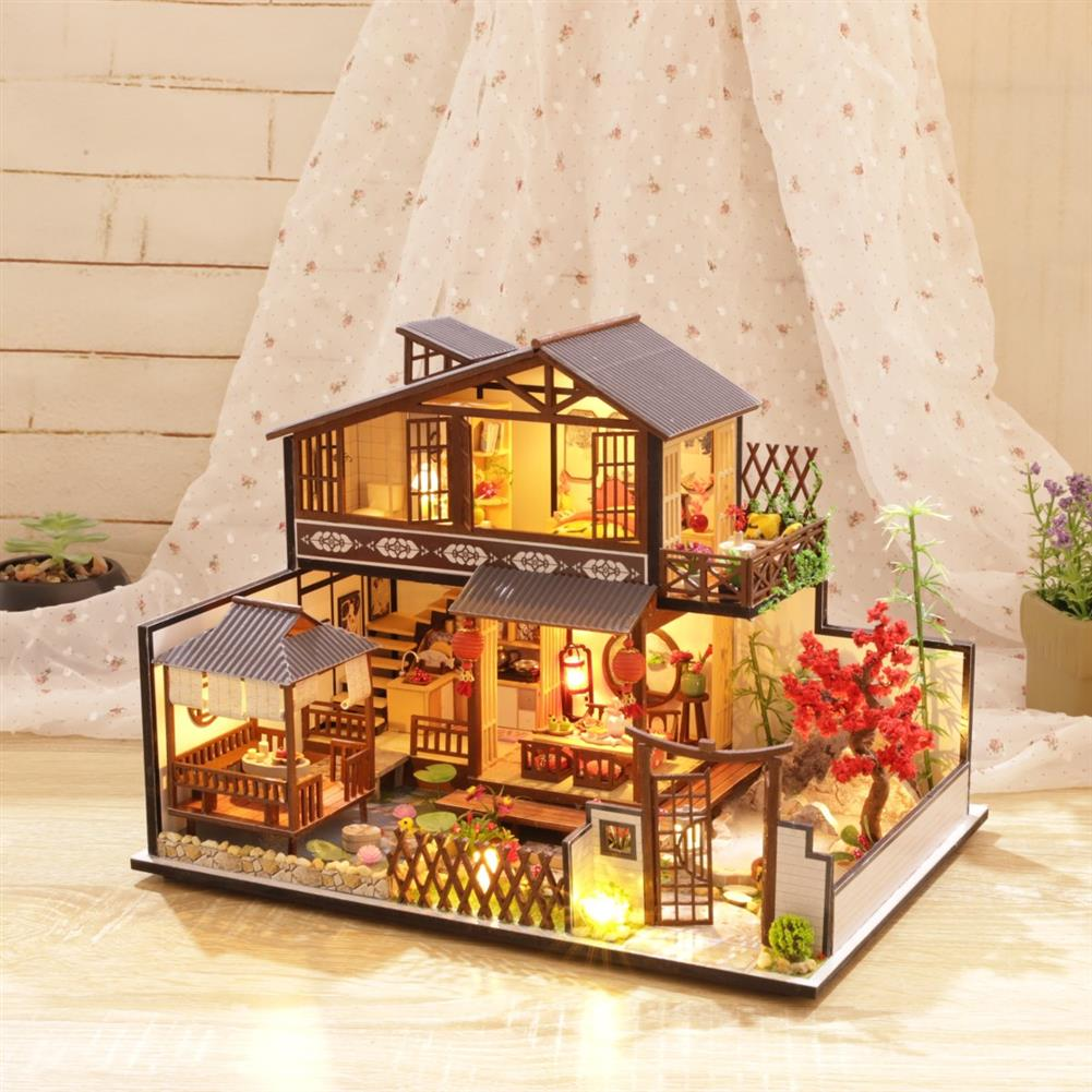 doll-house-miniature Wooden DIY Courtyard Doll House Miniature Kit Handmade Assemble Toy with LED Light Dust-proof Cover for Gift Collection HOB1726971 1