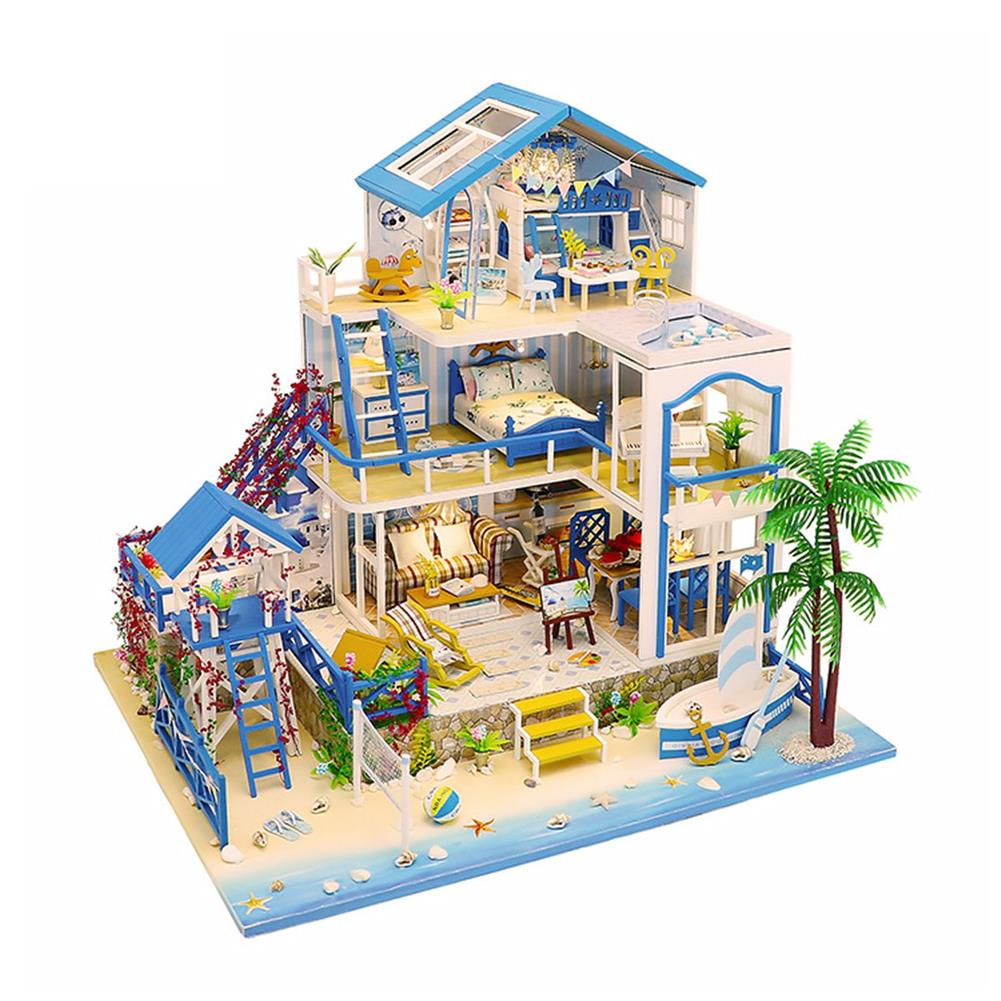 doll-house-miniature Wooden DIY Beach Villa Doll House Miniature Kit Handmade Assemble Toy with LED Light for Birthday Gift Collection Home Decor HOB1726976
