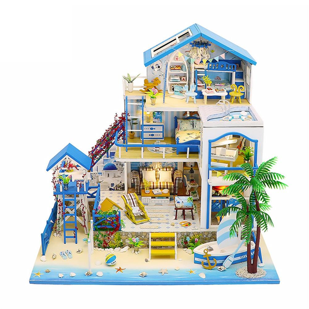 doll-house-miniature Wooden DIY Beach Villa Doll House Miniature Kit Handmade Assemble Toy with LED Light for Birthday Gift Collection Home Decor HOB1726976 1