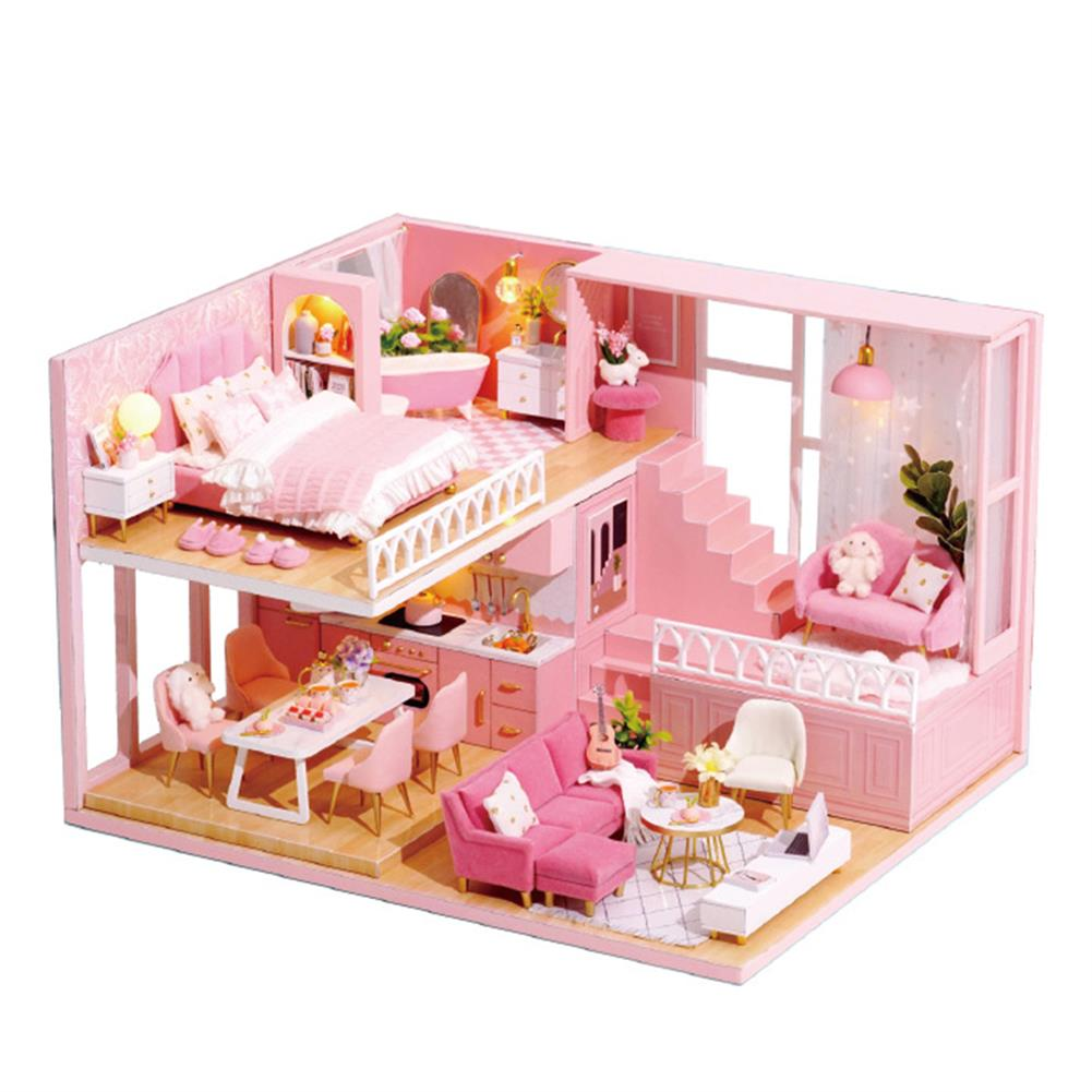 doll-house-miniature 1:24 Wooden 3D DIY Handmade Assemble Miniature Doll House Kit Toy with Furniture for Kids Gift Collection HOB1730578