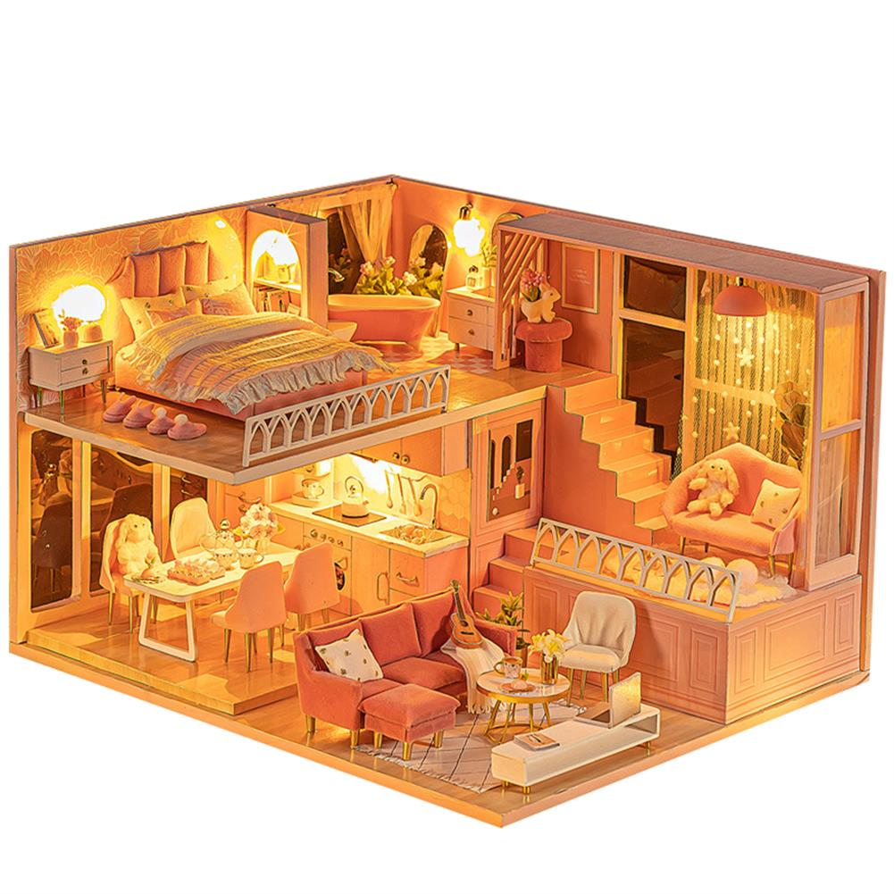 doll-house-miniature 1:24 Wooden 3D DIY Handmade Assemble Miniature Doll House Kit Toy with Furniture for Kids Gift Collection HOB1730578 1