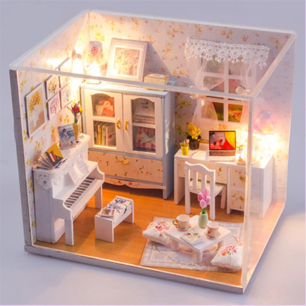 doll-house-miniature Wooden DIY Handmade Assemble Miniature Doll House Kit Toy with LED Light Dust Cover for Gift Collection Home Decoration HOB1730580 1