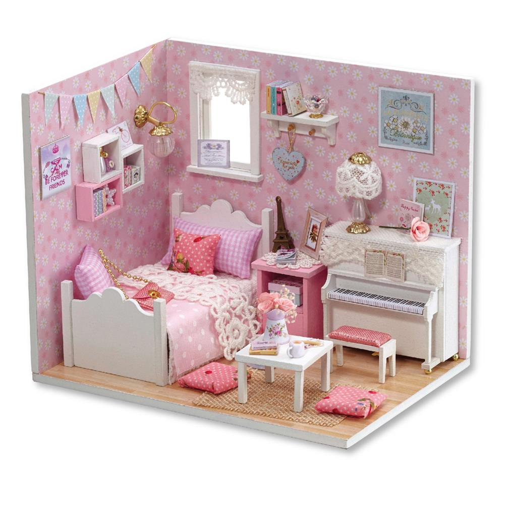 doll-house-miniature Wooden 3D DIY Handmade Assemble Doll House Miniature Kit with Furniture LED Light Education Toy for Kids Gift Collection HOB1731374 1