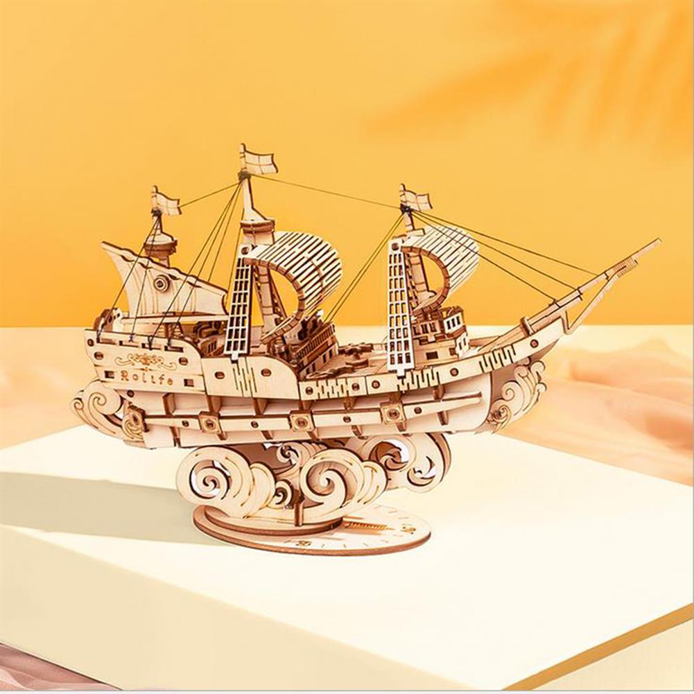 puzzle-game-toys Robotime TG305 Haiyang Sailboat 3D Puzzle DIY Hand-assembled Wooden Sailboat Model Toys HOB1732202