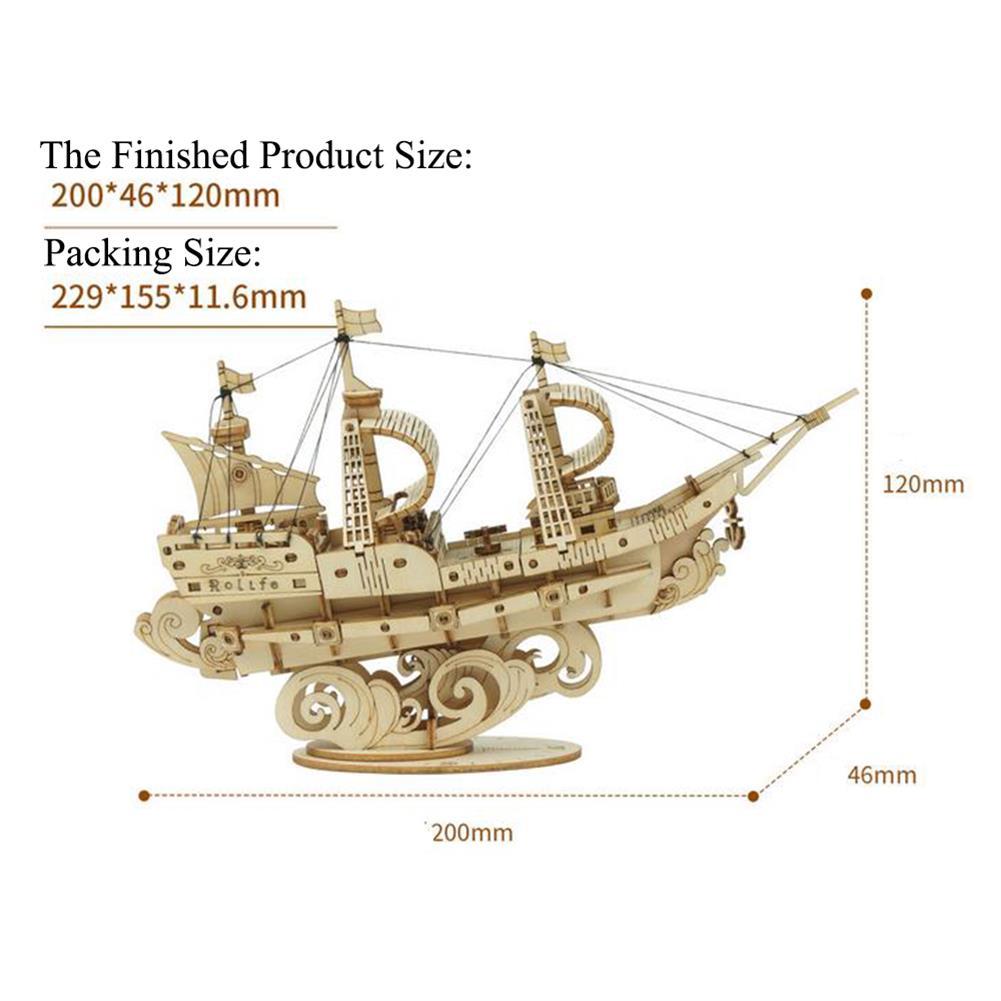 puzzle-game-toys Robotime TG305 Haiyang Sailboat 3D Puzzle DIY Hand-assembled Wooden Sailboat Model Toys HOB1732202 3