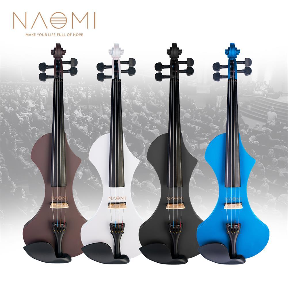 violin NAOMI 4/4 Electric Violin Solid wood Silent Active Pickup 6 Colored Guitar Head Violin Case Bow HOB1732577