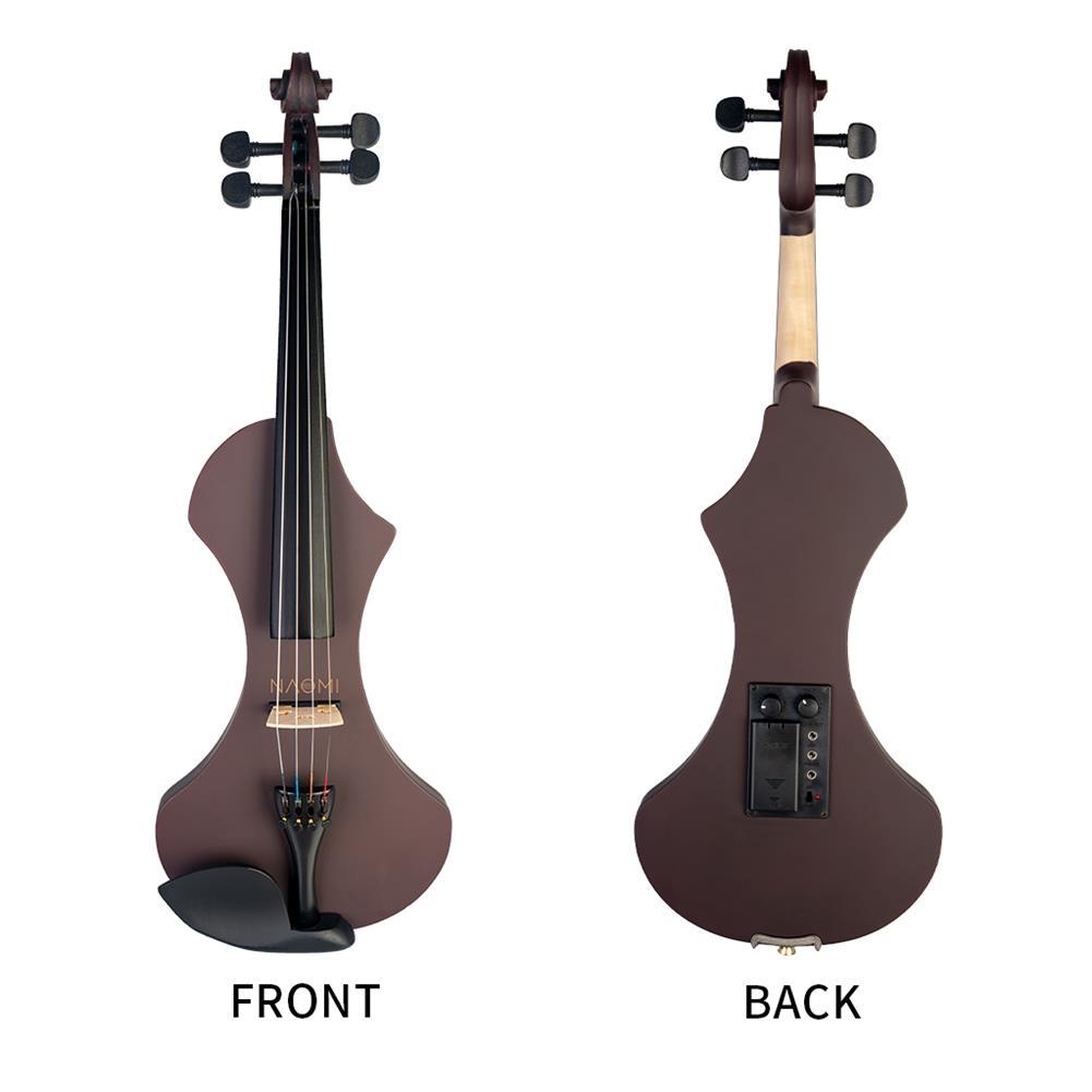 violin NAOMI 4/4 Electric Violin Solid wood Silent Active Pickup 6 Colored Guitar Head Violin Case Bow HOB1732577 1