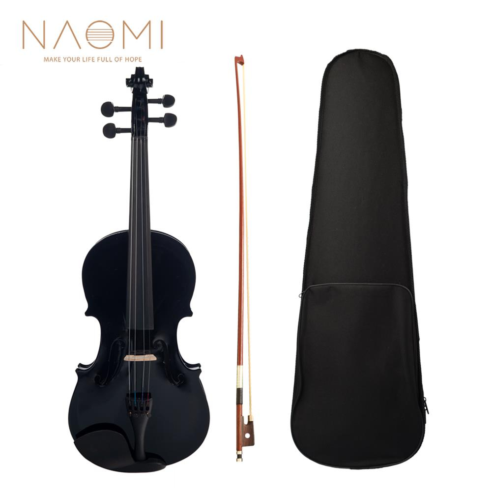 violin NAOMI 4/4 Black Acoustic Violin Spruce Top & Ebony Fitting Basswood Violin Outfit for Beginners W/Violin Case+Bow HOB1732598