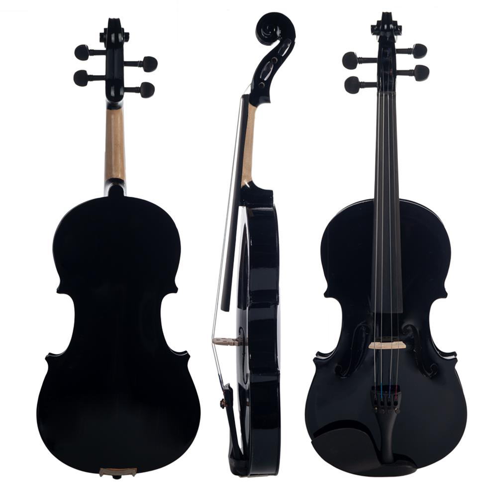 violin NAOMI 4/4 Black Acoustic Violin Spruce Top & Ebony Fitting Basswood Violin Outfit for Beginners W/Violin Case+Bow HOB1732598 1