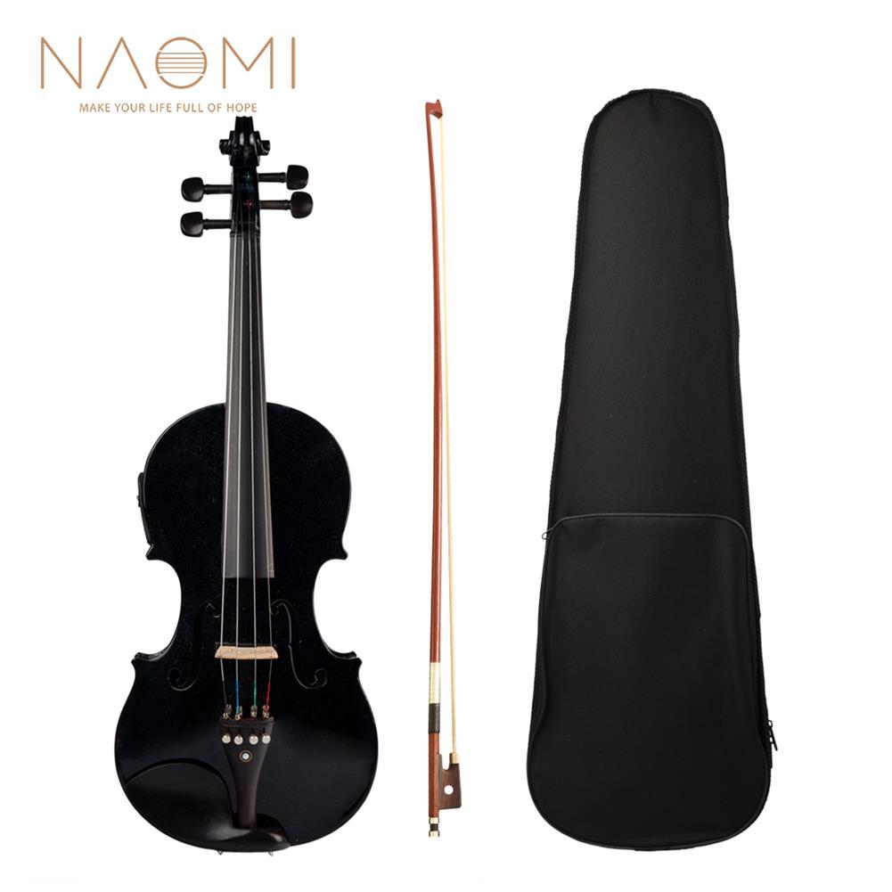 violin NAOMI 4/4 Acoustic Electric Violin Fiddle EQ Violin with Ebony Accessories HOB1732634