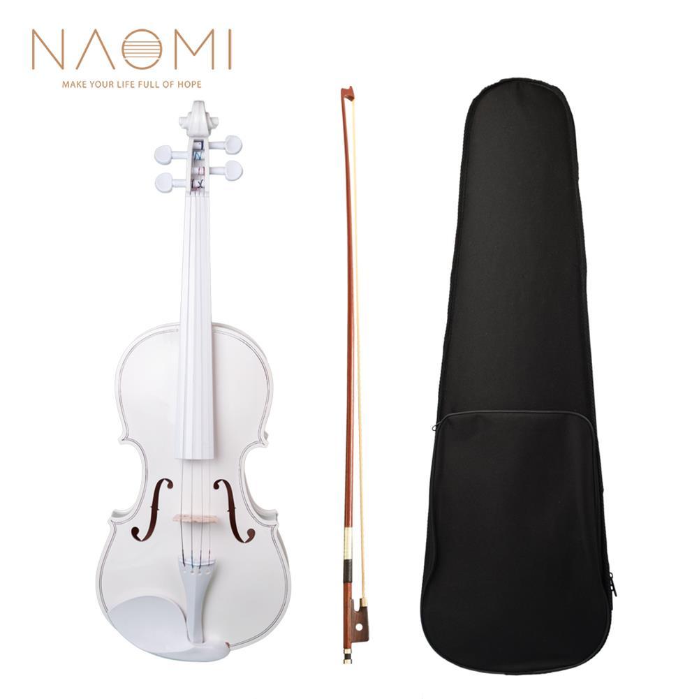 violin NAOMI 4/4 Full Size Plywood Violin Fiddle White Acoustic Violin Set HOB1732740