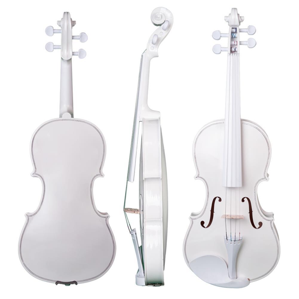 violin NAOMI 4/4 Full Size Plywood Violin Fiddle White Acoustic Violin Set HOB1732740 1