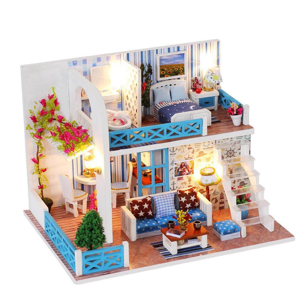 doll-house-miniature Wooden Multi-style 3D DIY Handmade Assemble Doll House Miniature Kit with Furniture LED Light Education Toy for Kids Gift Collection HOB1733534