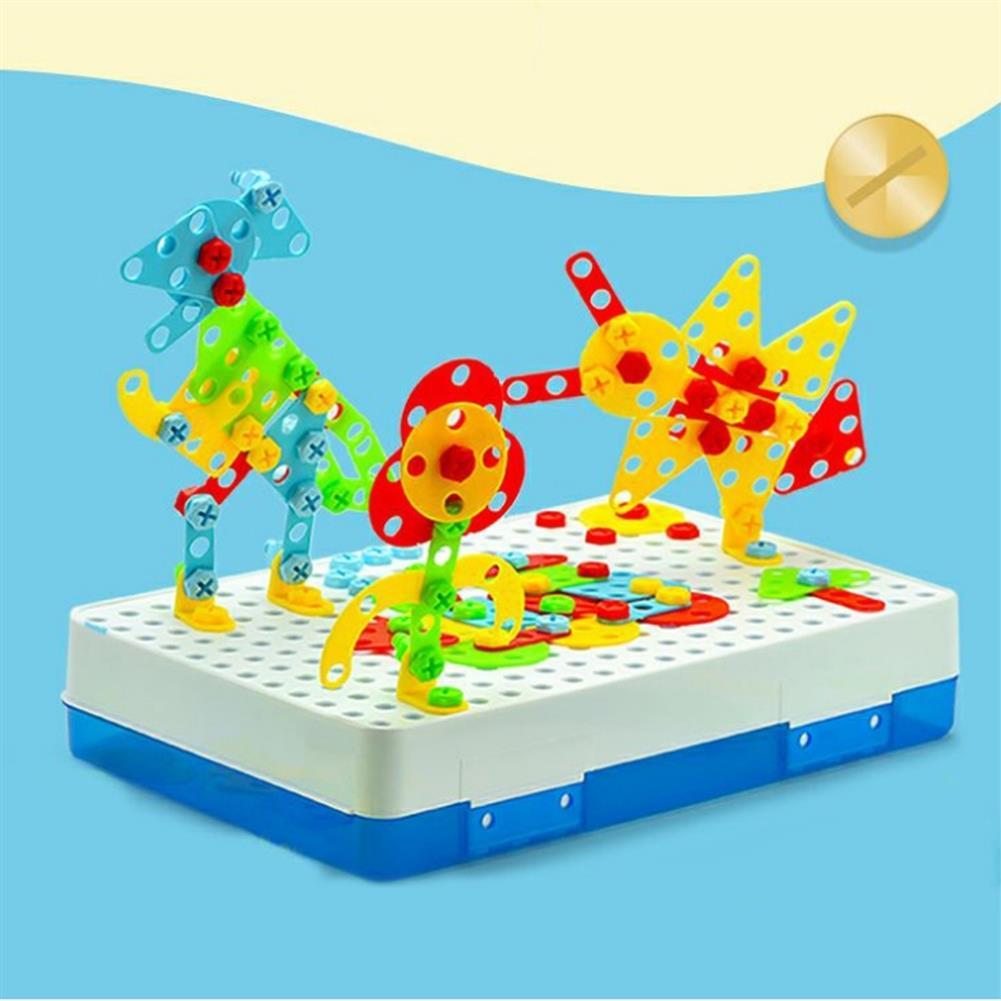 blocks-track-toys 237 Pcs Creative Mosaics 3D DIY Assemble Electric Drill Puzzle Building Blocks Peg Educational Toy for Kids Gift HOB1733551