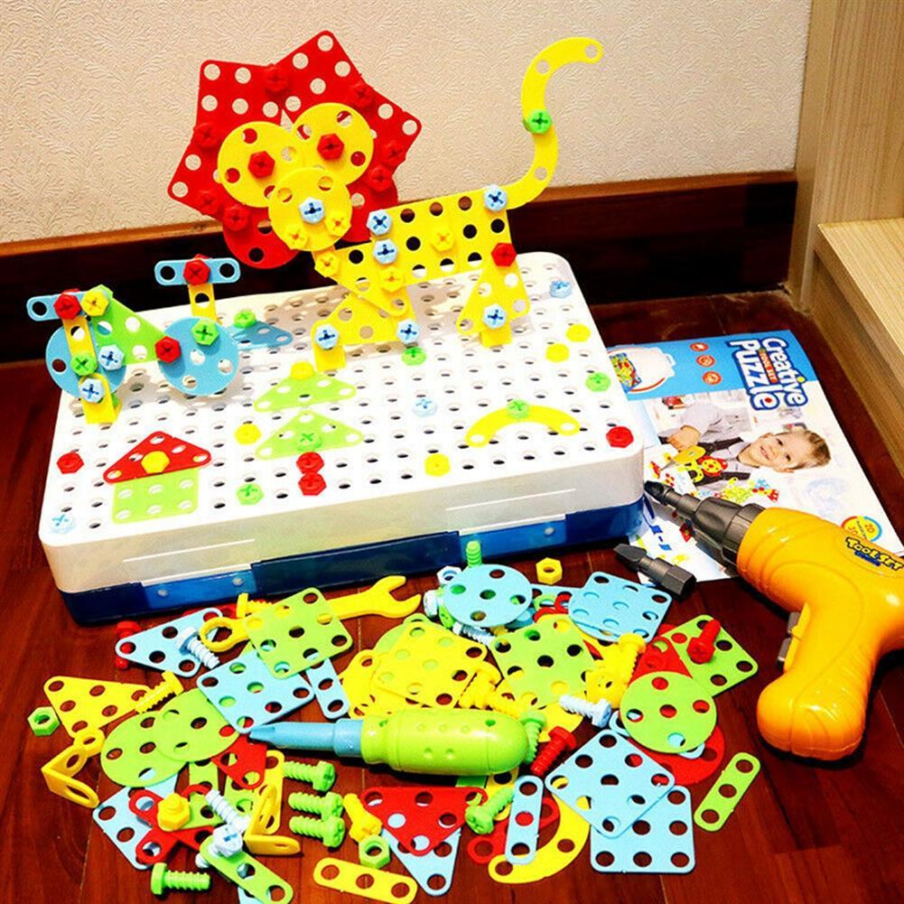 blocks-track-toys 237 Pcs Creative Mosaics 3D DIY Assemble Electric Drill Puzzle Building Blocks Peg Educational Toy for Kids Gift HOB1733551 1