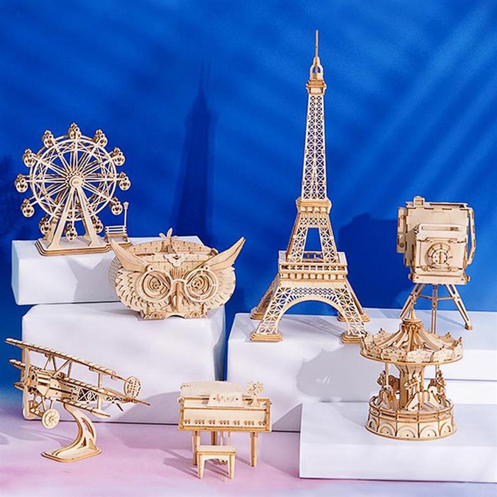 puzzle-game-toys Robotime TG301 Airplane Creative 3D Puzzle Handmade DIY Wooden Assembled Desktop Decoration Toys HOB1733571 1