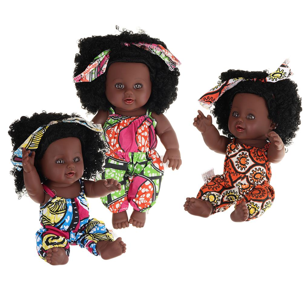 dolls-action-figure 12inch 30CM Soft Silicone Vinyl PVC Black Baby Fashion Doll Rotate 360 African Girl Perfect Reborn Doll Toy for Birthday Gift HOB1734361 1