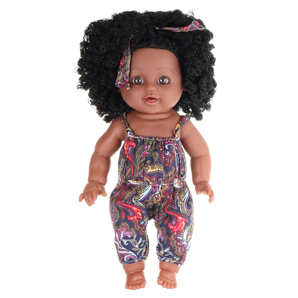 dolls-action-figure 12inch Soft Silicone Vinyl PVC Black Baby Fashion Play Doll Rotate 360 African Girl Perfect Reborn Doll Toy for Birthday Gift HOB1734364