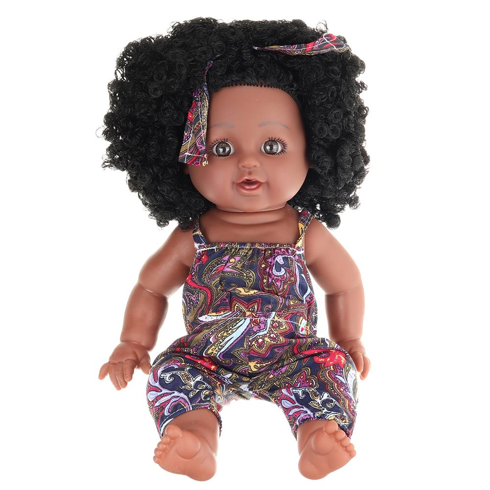 dolls-action-figure 12inch Soft Silicone Vinyl PVC Black Baby Fashion Play Doll Rotate 360 African Girl Perfect Reborn Doll Toy for Birthday Gift HOB1734364 1