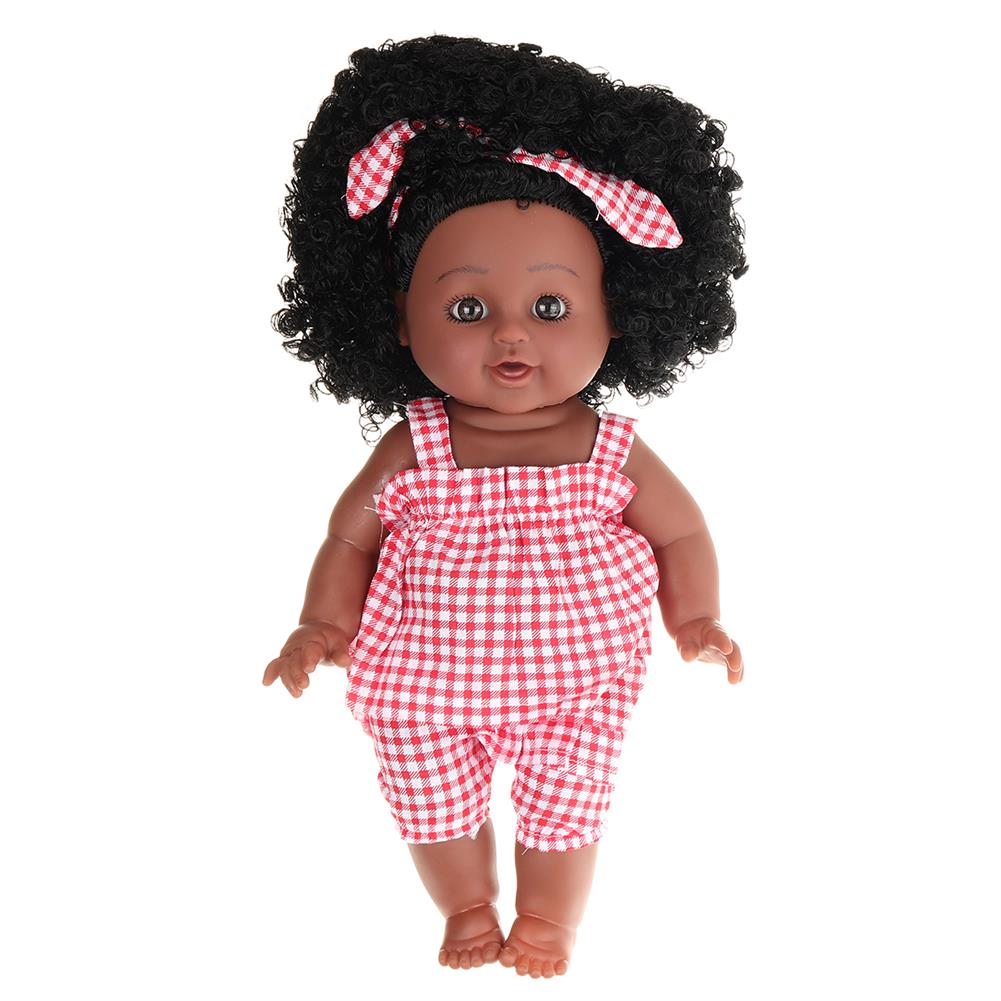 dolls-action-figure 12inch Soft Silicone Vinyl PVC Black Baby Fashion Doll Rotate 360 African Girl Perfect Reborn Doll Toy for Birthday Gift HOB1734365