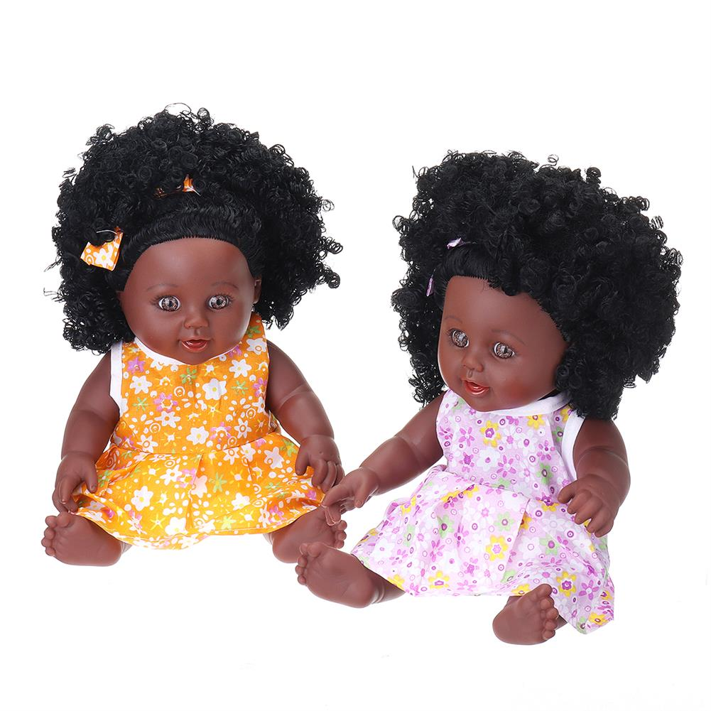dolls-action-figure 12inch Simulation Soft Silicone Vinyl PVC Black Baby Fashion Doll Rotate 360 African Girl Perfect Reborn Doll Toy for Birthday Gift HOB1734366