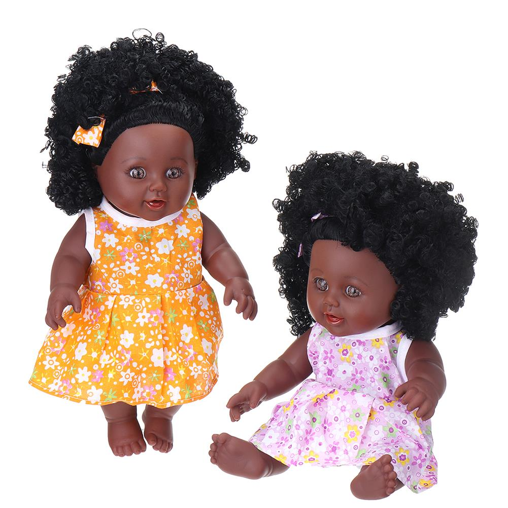 dolls-action-figure 12inch Simulation Soft Silicone Vinyl PVC Black Baby Fashion Doll Rotate 360 African Girl Perfect Reborn Doll Toy for Birthday Gift HOB1734366 1