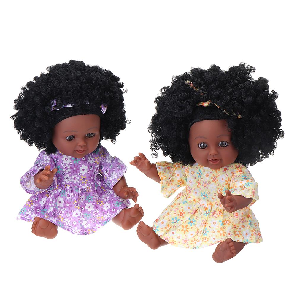 dolls-action-figure 12inch Soft Silicone Vinyl PVC Black Baby Fashion Doll Rotate 360 African Girl Perfect Reborn Doll Toy for Birthday Gift HOB1734457