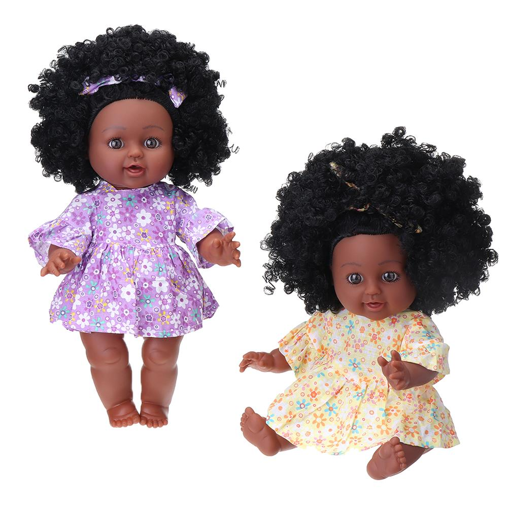 dolls-action-figure 12inch Soft Silicone Vinyl PVC Black Baby Fashion Doll Rotate 360 African Girl Perfect Reborn Doll Toy for Birthday Gift HOB1734457 1
