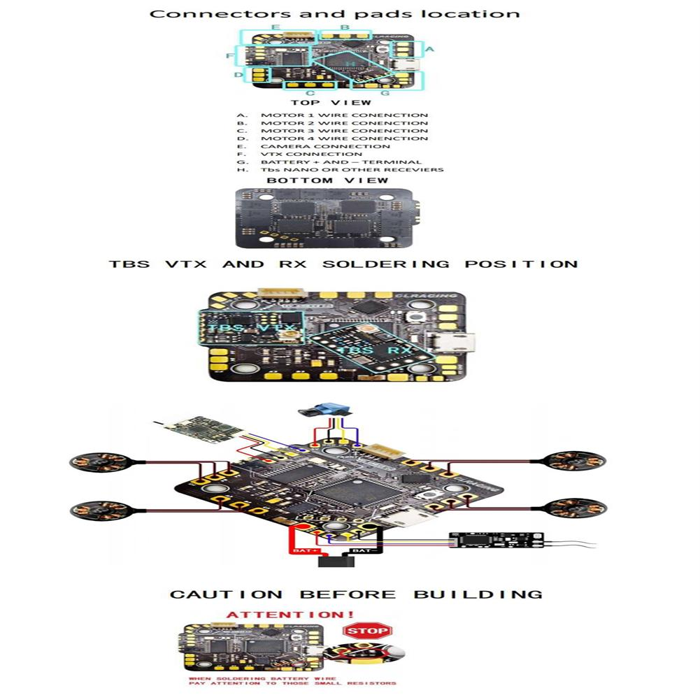 multi-rotor-parts 25.5x25.5mm CLRZCING AIO F7 2-6S Flight Controller OSD 20A Blheli_32 Brushless ESC for Toothpick / Whoop FPV Racing Drone HOB1737760 3