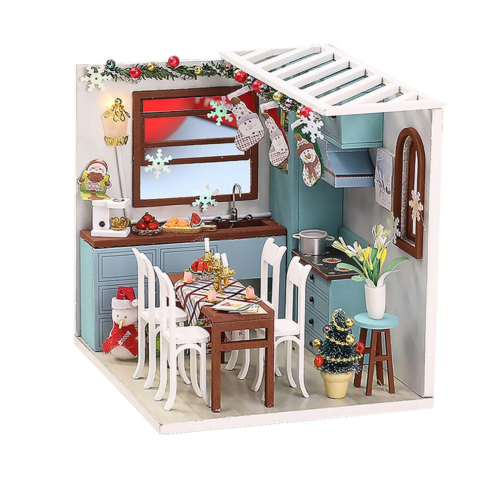 doll-house-miniature Wooden Dining Room DIY Handmade Assemble Doll House Miniature Furniture Kit Education Toy with LED Light for Collection Birthday Gift HOB1737848