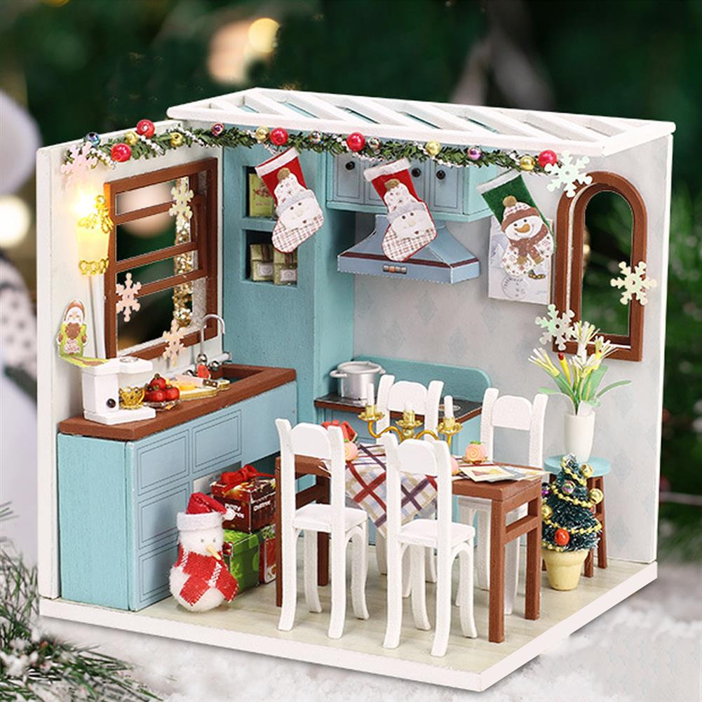 doll-house-miniature Wooden Dining Room DIY Handmade Assemble Doll House Miniature Furniture Kit Education Toy with LED Light for Collection Birthday Gift HOB1737848 1