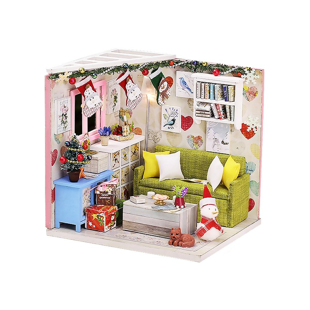doll-house-miniature Wooden Living Room DIY Handmade Assemble Doll House Miniature Furniture Kit Education Toy with LED Light for Collection Birthday Gift HOB1737849