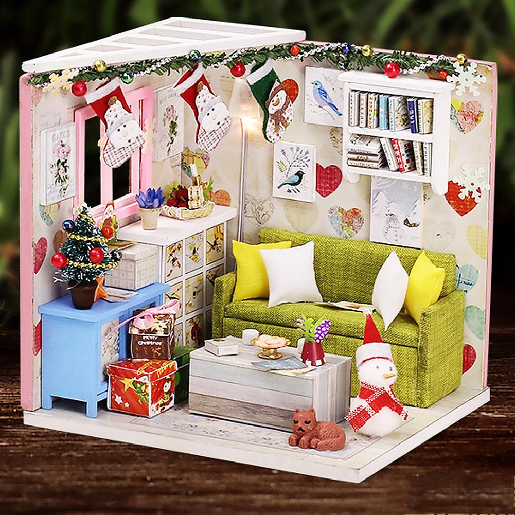 doll-house-miniature Wooden Living Room DIY Handmade Assemble Doll House Miniature Furniture Kit Education Toy with LED Light for Collection Birthday Gift HOB1737849 1